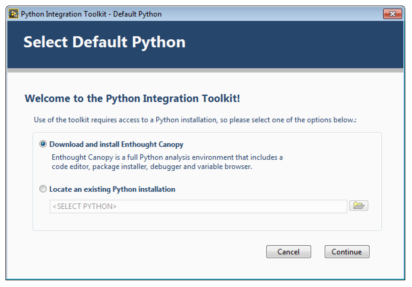 Downloading and Installation — Python Integration Toolkit